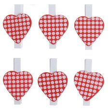 Прищепки-декор Сердце с горохом (набор 6шт)